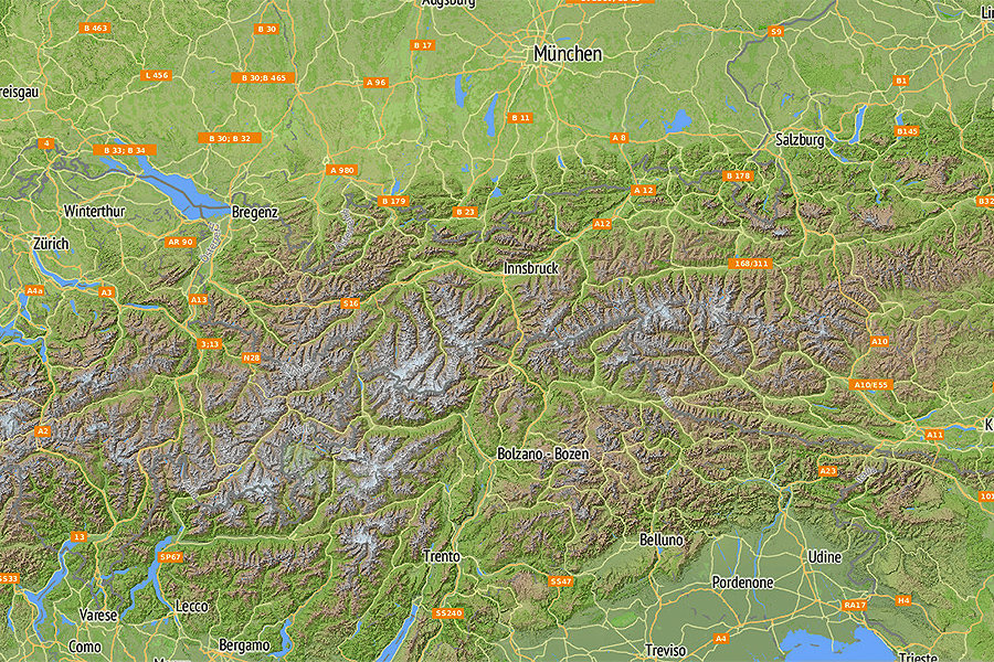 Karte Tirol.Karte Für Südtirol Und Tirol Relief Und Panorama Landkarte