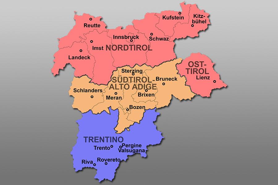 Karte Fur Sudtirol Und Tirol Relief Und Panorama Landkarte